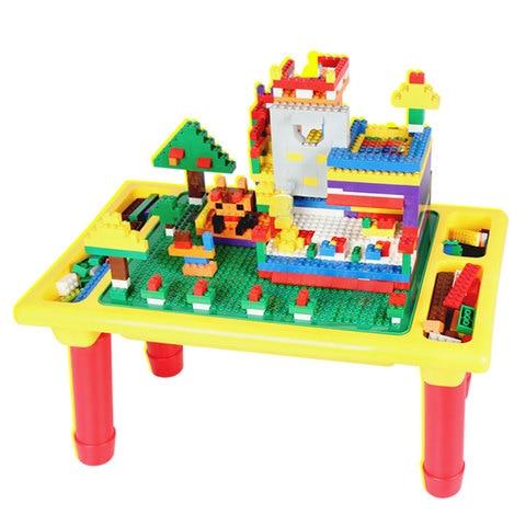 diy classico blocos mesa com placa de base criativo tijolo mesa brinquedo educativo para criancas