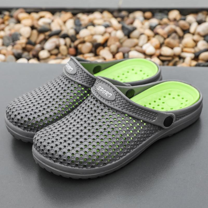 Coslony Clogs Men Black Garden Aqua 2020 trend Male Band Sandals Summer Slides Beach Swimming Shoes Big Sizes Zapatos Hombre