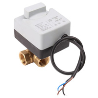 SHGO HOT AC220V 3 Way 3 Wires 2 Control Motorized Ball Valve Electric Actuator with Manual Switch