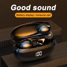 Tws 5.0 auriculares bluetooth display digital in-ear hifl estéreo fone de ouvido sem cancelamento de ruído fio com microfone para todos os telefones