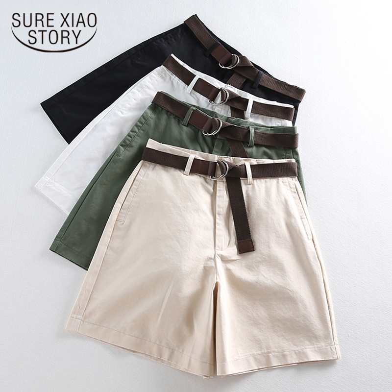 Women Summer Shorts Loose High Waist 2020 Casual Female Solid A-line With Belt Feminine Thin Ladies Wide Leg Shorts 7411 50