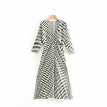 Sexy Zebra Dress Women's Printed Striped V-Neck Dress Fashion Slim A-Line Hem Split Dress Long Sleeve Buckle Dresses split bell sleeve a line dress