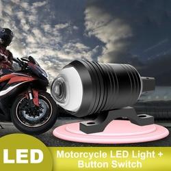 SUHU 2PCS Bright Motorcycle Fog Lights LED Headlight Driving Spot Work Lamp + Switch Moto Spotlight Fog Spot Head Light Lamp CSV