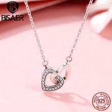 цена BISAER 100% 925 Sterling Silver Heart Connected Heart Clavicle Chain Pendant Necklace Women Valentine Day Gift Bijoux GXN181 онлайн в 2017 году
