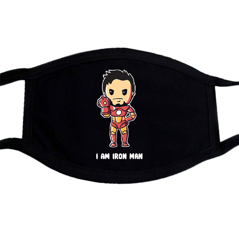 The Avengers I AM Funny Cartoon Print Masks Face Unisex Washable Dust Proof Mouth Muffle Mask Black Bilayer Warm  Mask