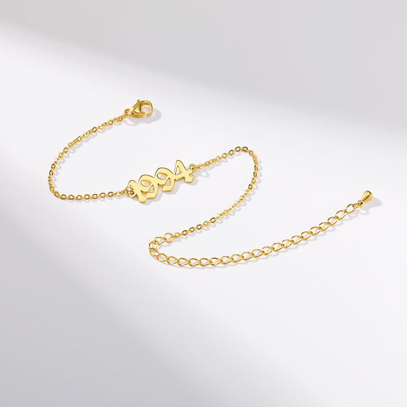 Old English Number Chain Bracelet 1991 1992 1993 1994 1995 1996 1997 1998 1999 2000 Birth Year Hand Link Gold Silver BFF Jewelr
