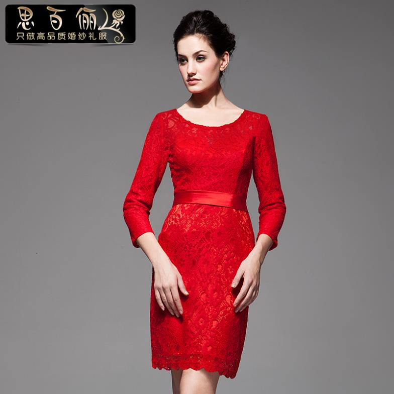 Free Shipping 2018 New Short Red Bride Fashion Gowns For Women Lace Long Sleeve Custom Party Prom Custom Mother Of The Dresses