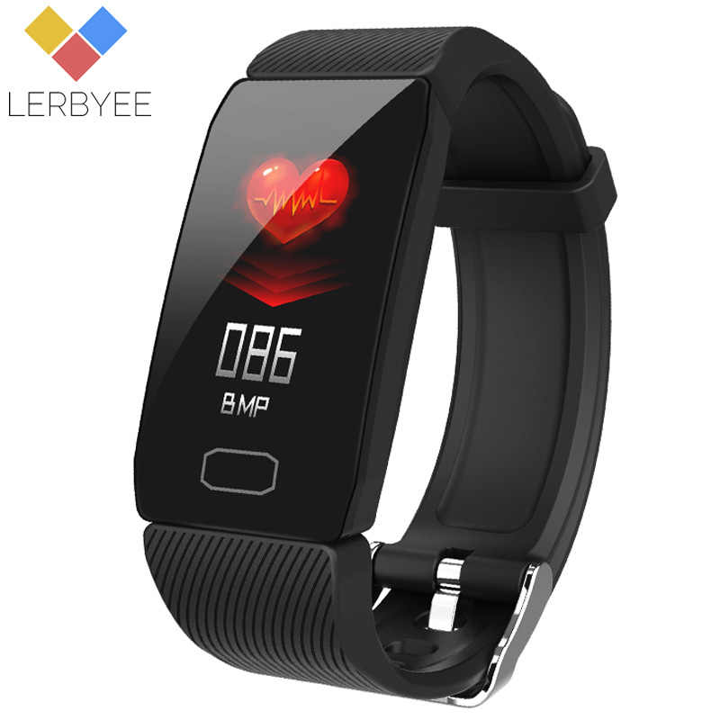 Lerbyee Q1 Fitness Tracker Heart Rate Monitor Anruf Erinnerung Smart Band Farbe Bildschirm Pedometer Smart Armband für iOS Android