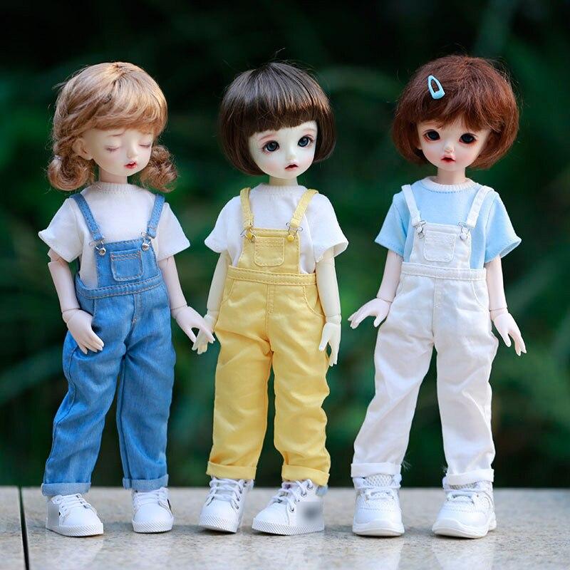 Blyth bjd roupas 30cm 1/6 bjd sd yosd boneca roupas moda denim macacão calças e manga curta camiseta conjunto boneca acessórios
