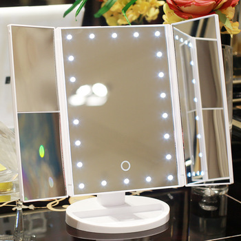 LED Makeup Mirror 22 Vanity Light Magnifying 3 Floding Countertop Touch Screen Cosmetic 10x Magnifier Small Mirror Beauty