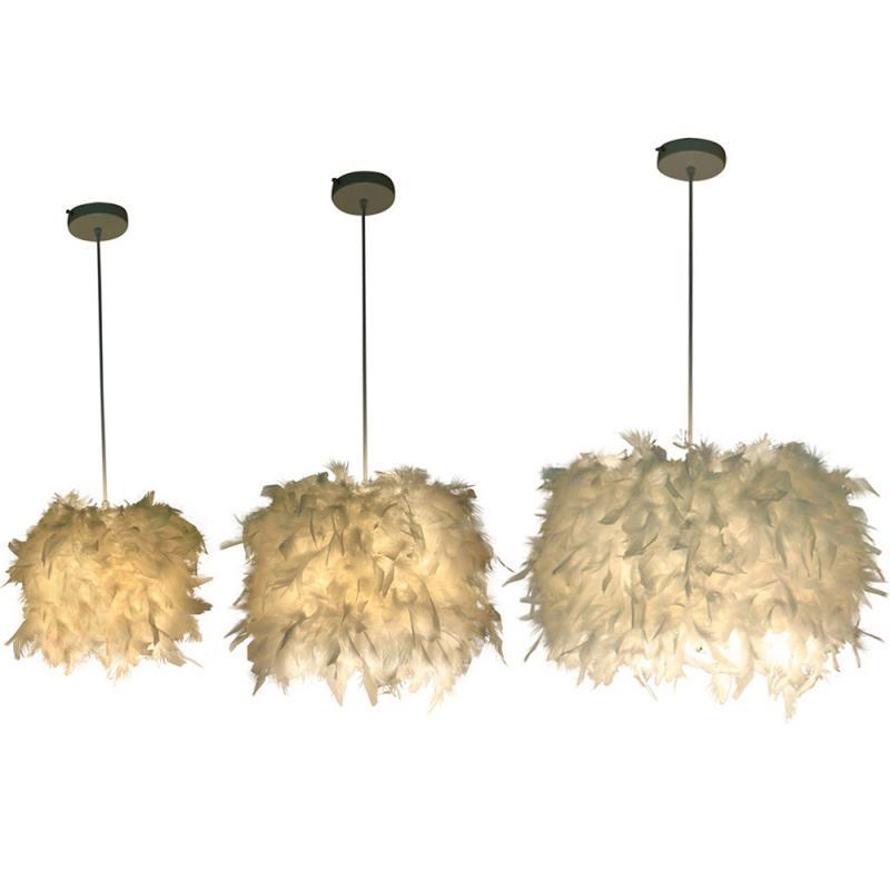 Individuele Nordic Minimalistische Slaapkamer Veer Kroonluchter Dining Veer Kroonluchter Warm Prinses Mini Kroonluchter-in Hanglampen van Licht & verlichting op title=