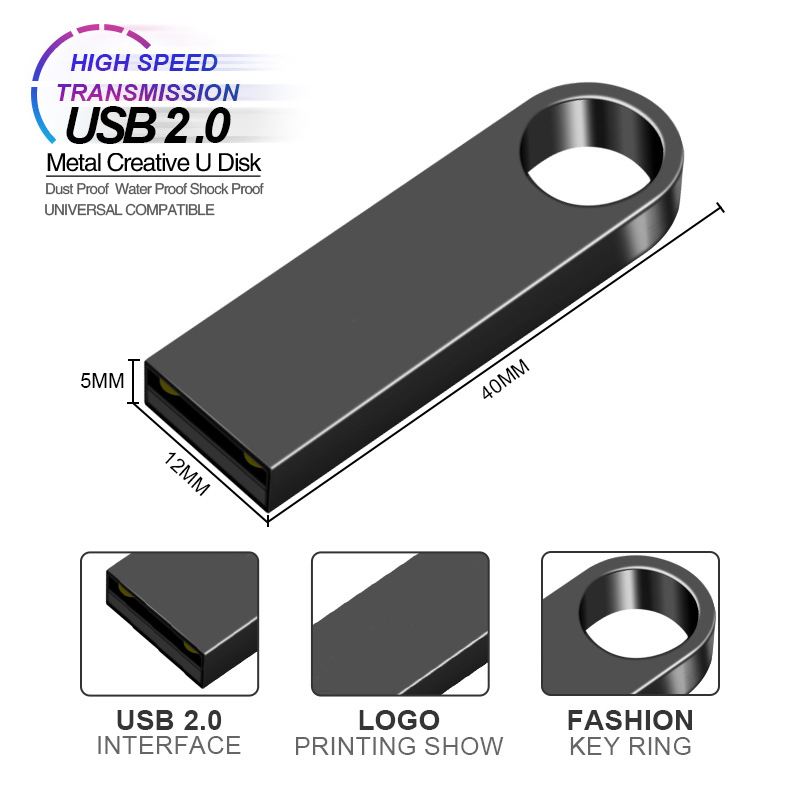 Usb Flash Drive 2.0 Keychain Metal Pen Drive 256GB Flash Drive 4GB 8GB 16GB 32GB Pendrive 64GB 128GB Flash Disk Free Print Logo