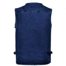 Lente Man 5XL Denim Vest Mannelijke Plus Size Vest Jeans Mannen Multi Pocket Fotografie Vest Heren Denim Vest Mouwloze Jas colete(China)