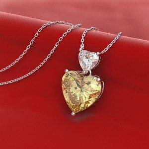 Image 5 - Wong Regen Romantische 100% 925 Sterling Zilver Liefde Hart Moissanite Citrien Sapphire Edelsteen Hanger Ketting Sieraden Groothandel