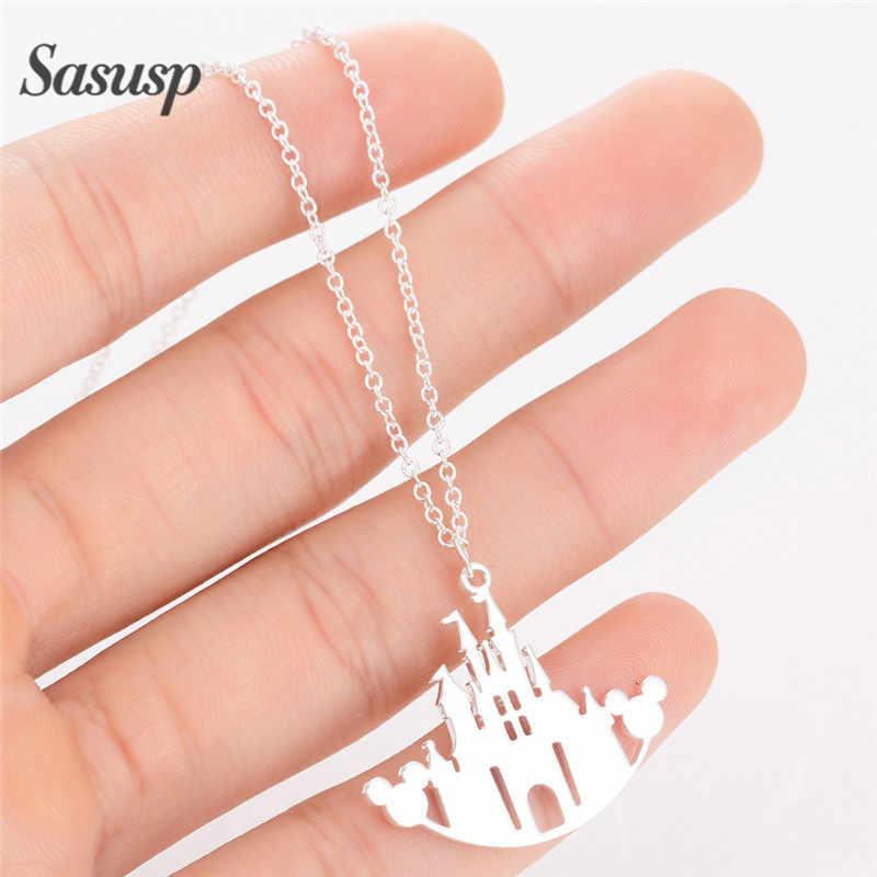 Sasusp Mickey château collier femmes étoile arbre de vie jésus ras du cou colliers bijoux pour accessoires de fête quotidienne