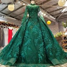 Ls0181 royal green alta pescoço vestidos de festa longo tule manga rendas até voltar vestido de baile beleza vestido de noite para mulher preço real