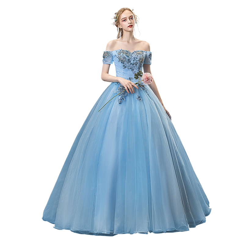 Gryffon Quinceanera Dress Off The Shoulder Elegant Blue Party Prom Ball Gown Luxury Solo Host Quinceanera Dresses Plus Size