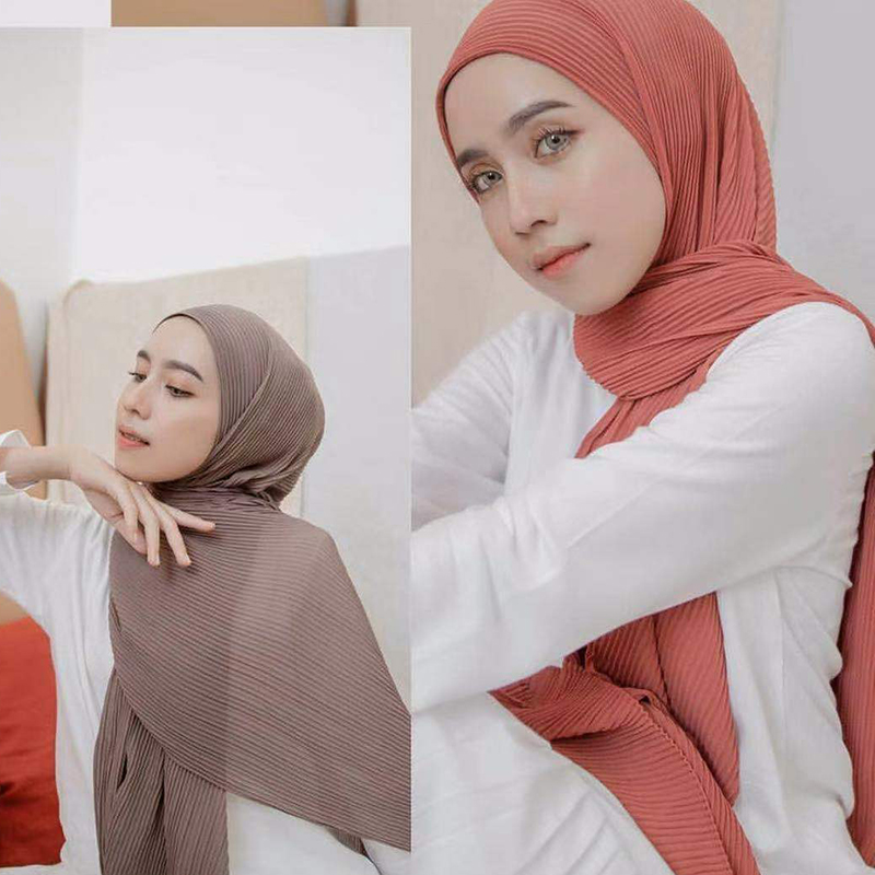 New Big Size 85*180cm Women Crumple Bubble Chiffon Scarf Solid Crinkled Shawls Pleated Headband Hijab Muslim Wraps Scarves/scarf