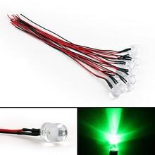 10 шт., красный, желтый, синий, зеленый, белый, 5 мм, Предварительно проводной светодиодный, супер яркая прозрачная лампа, 5-12 В, Предварительно смонтированные светодиоды, многоцветный