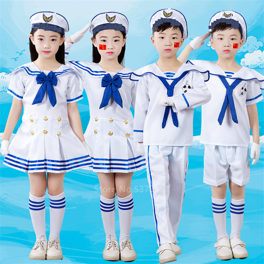 Children Sailor Uniform Officer Cosplay Chorus Anime School Halloween Costume For Kids Baby Girl Boy Dress Fancy Carnival Party