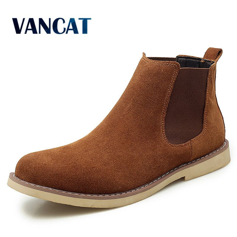 New Winter Warm Plush Men Boots High Quality Cow Suede Men Chelsea Boots Non-slip Snow Boots Handmade  Ankle Boots Big Size 47