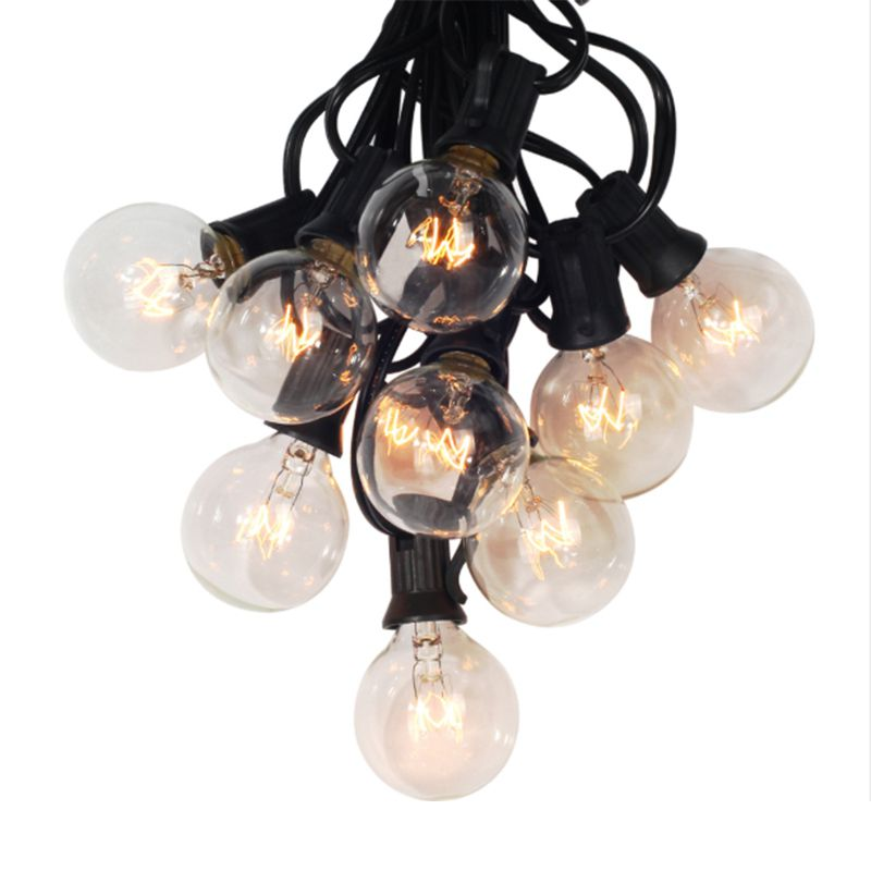 ABSS-european Plug, G40 Globe Strings With 25 Clear Bulbs, 25Ft UL Listed For Indoor And Outdoor Decoration For Garden, Patio, P