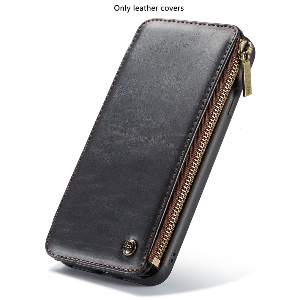 Detachable Leather Wallet Case For Samsung Note 9 Pro Case Zipper Credit Card Slots Cover For Iphone XS XR 6 6S Plus 7 8