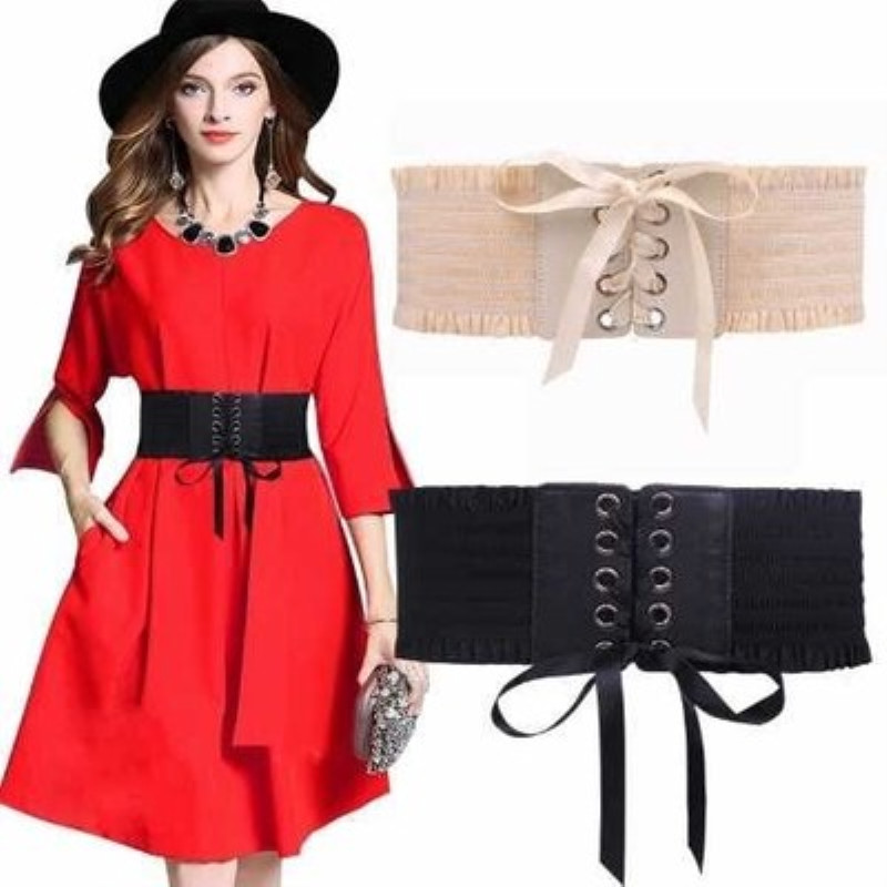 New Black And White Waist Seal Female Fashion Decoration Dress Is Super Wide And Versatile Elastic Binding Belt 70*10CM