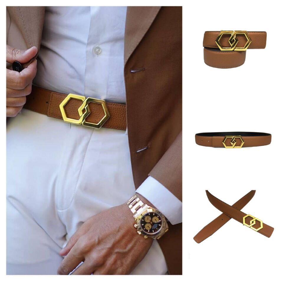 Genuine Leather Luxury Hexagons Lichi Leather Belt  Men Women Classy Bling Buckle Stainless Steel Cow Leather Yellow Belt