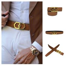 Genuine Leather Luxury Hexagons Lichi Leather Belt Men Women Classy Bling Buckle