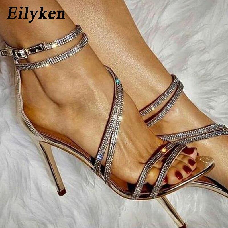 Eilyken New Ladies Summer Shoes Fashion Rhinestone Gladiator Sandals Women Wedding Open Toe After Zip Stiletto High Heels