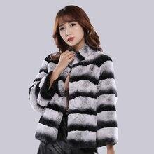 Abrigo de piel de chinchilla para mujer, chaqueta de piel auténtica de conejo rex, pelt completo a rayas, ropa de piel real para mujer, moda de marca cálida gruesa