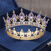 Gold Purple Queen King Bridal Crown For Women Headdress Prom Pageant Wedding Tiaras and Crowns Hair Jewelry Accessories