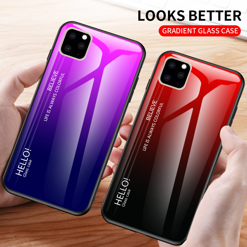 Ollyden Gradient Tempered Glass Cases for iPhone 11/11 Pro/11 Pro Max 1