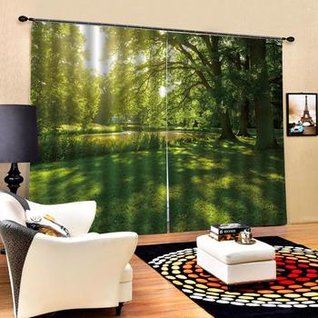 green landscape forest curtains 3D Window Curtain scenery print Luxury Blackout For Living Room