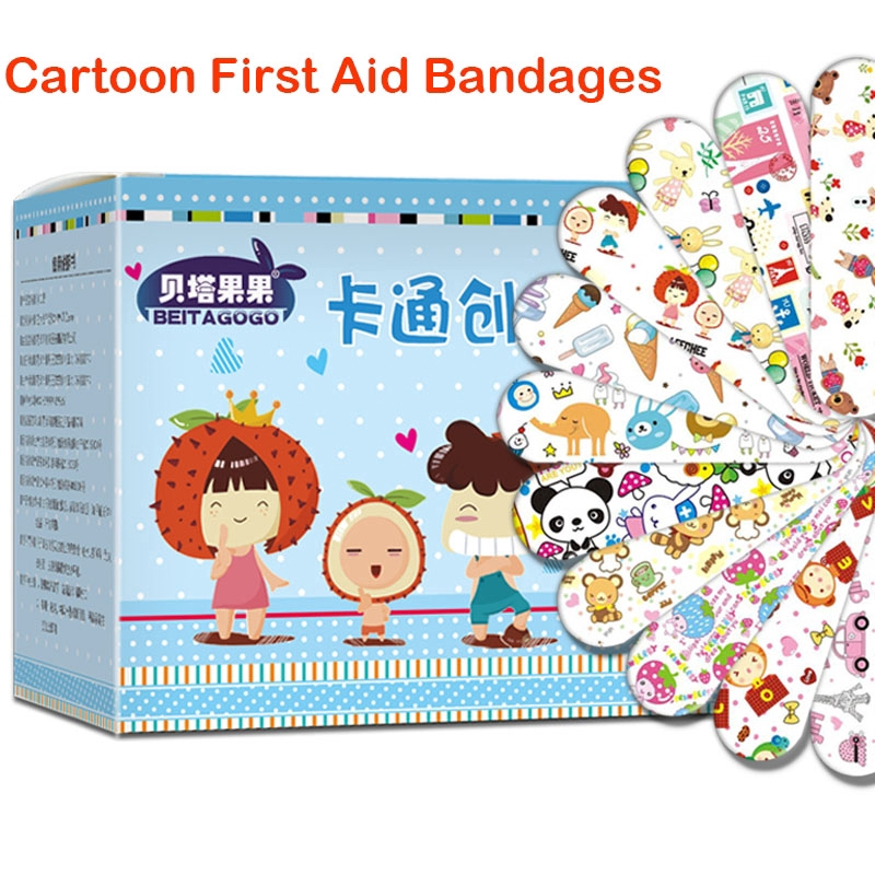 120PCs Cartoon Bandages Adhesive Sticker Wound Plaster Student First Aid Hemostasis Sterile Stickers For Children Kids