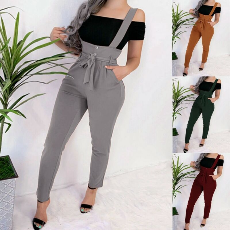 2019 Spring Autumn Hot Women Slim Polyester Overalls Straps   Jumpsuit   Rompers Strap Casual Trousers Pants Fashion