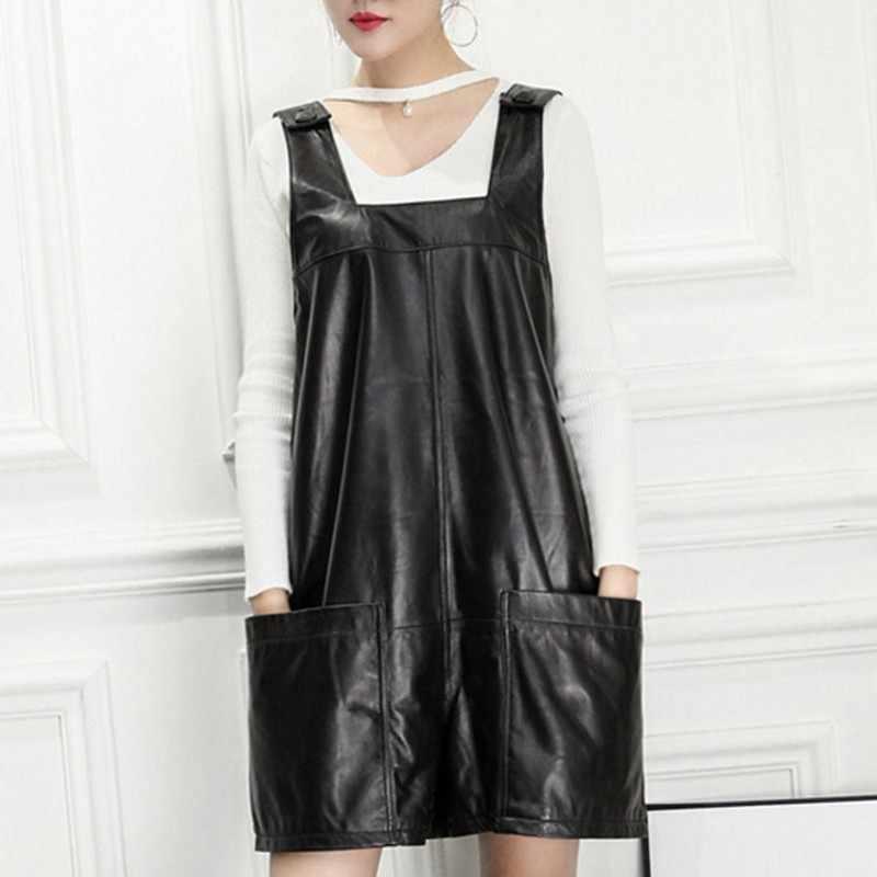 Hoge Kwaliteit Luxe Vrouwen Jumpsuit Fashion Solid Echt Lederen Korte Jumpsuit Streetwear Loose Fit Wijde Pijpen Speelpakjes S-3XL