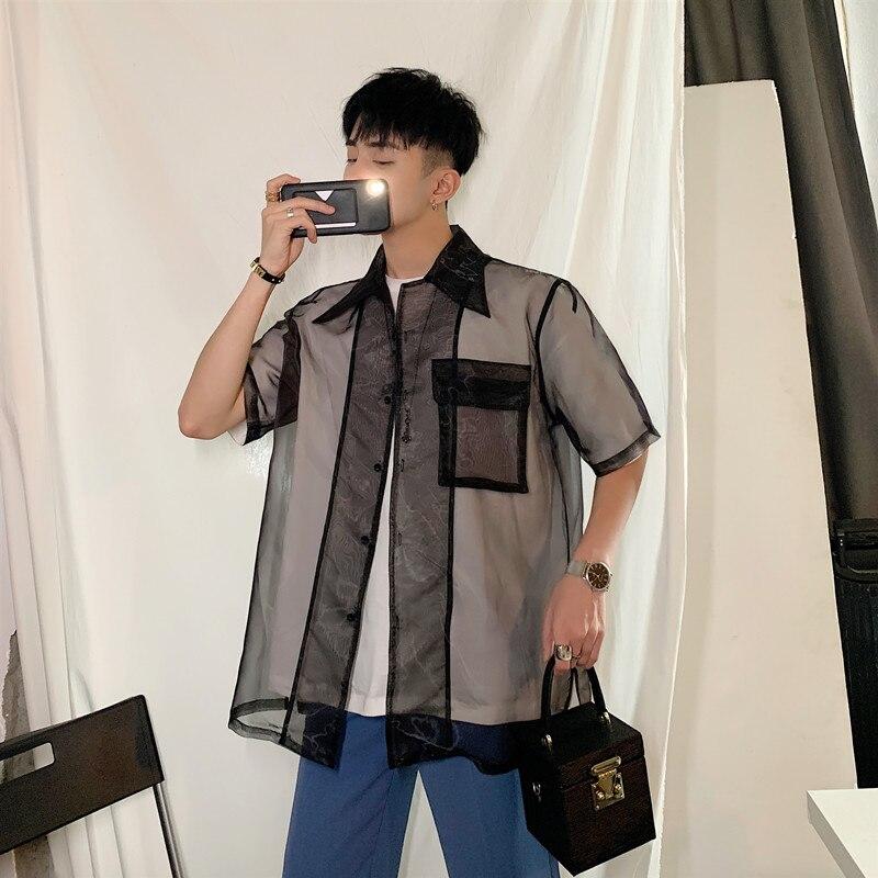 Summer Transparent Shirt Men's Fashion Printed Casual Flower Shirt Men Streetwear Loose Short Sleeve Shirt Mens Dress Shirt