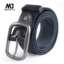 MEDYLA New Brand Leather Belts For Men Casual pants jeans Leather Soft High Quality Genuine Leather Mans Belt MD507 Dropship