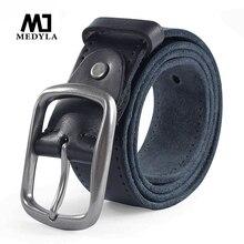 MEDYLA yeni marka deri kemerler erkekler için rahat pantolon kot deri yumuşak yüksek kalite hakiki deri erkek kemer MD507 Dropship