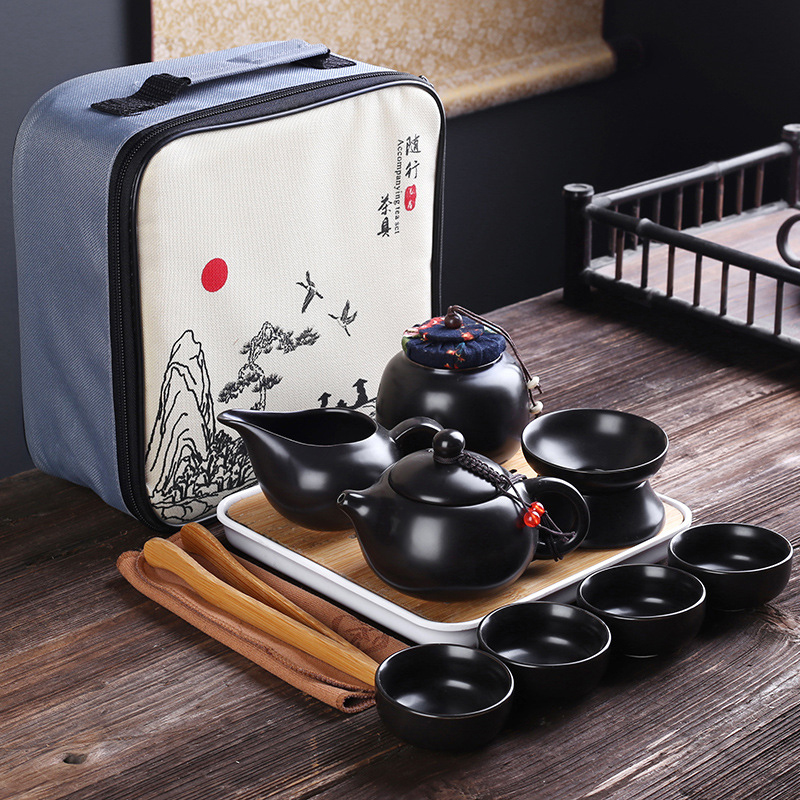 Портативный керамический чайный сервиз, китайская зеркальная чайная принадлежность, чайный сервиз для путешественников, чайный сервиз с сумкой, чайные чашки Gaiwan для чайной церемонии