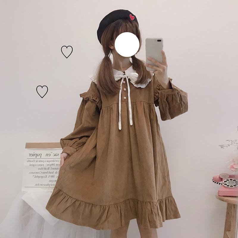Autumn Lolita Dress Tea Party Japan Style Kawaii Girl Navy Collar Daily Dress Tea Party Gothic Lolita Dress