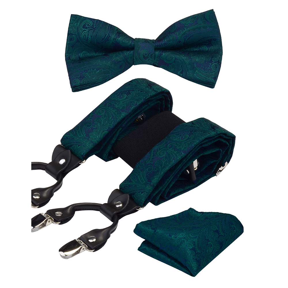 Men's Suspenders For Pant Fashion Paisley Braces Leather 6 Clips Adjustable Suspender Bow Tie Pocket Square Set With Box For Men