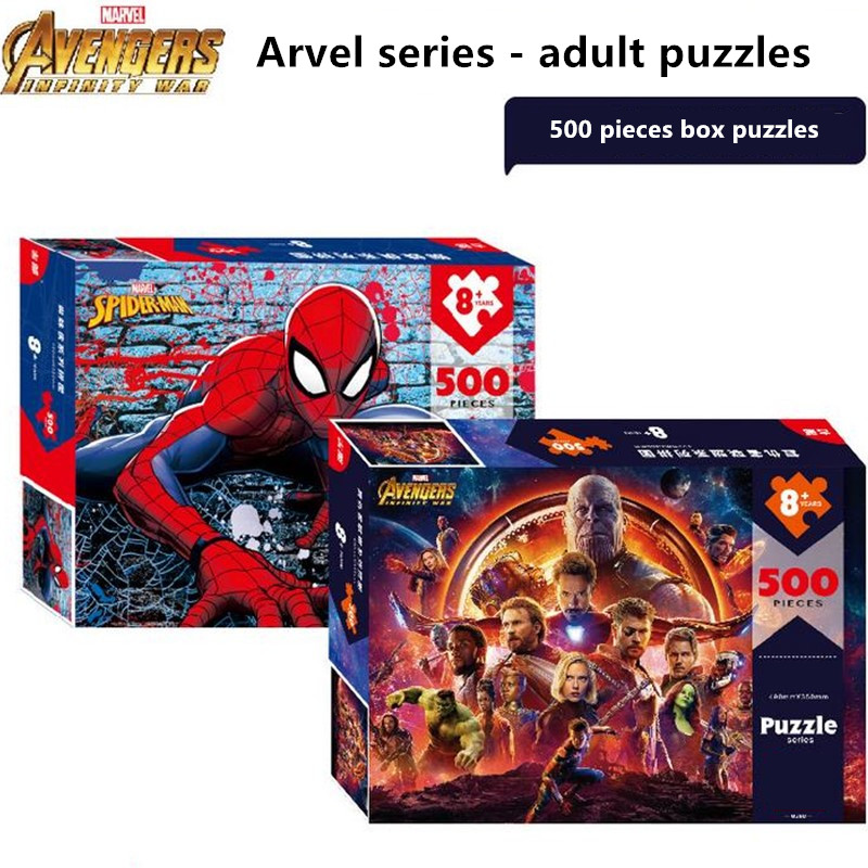 Disney Marvel Toy Puzzle Spider-Man/Avengers 500 Pieces Of Paper Adult Stress Reliever Toy Intelligence Toy