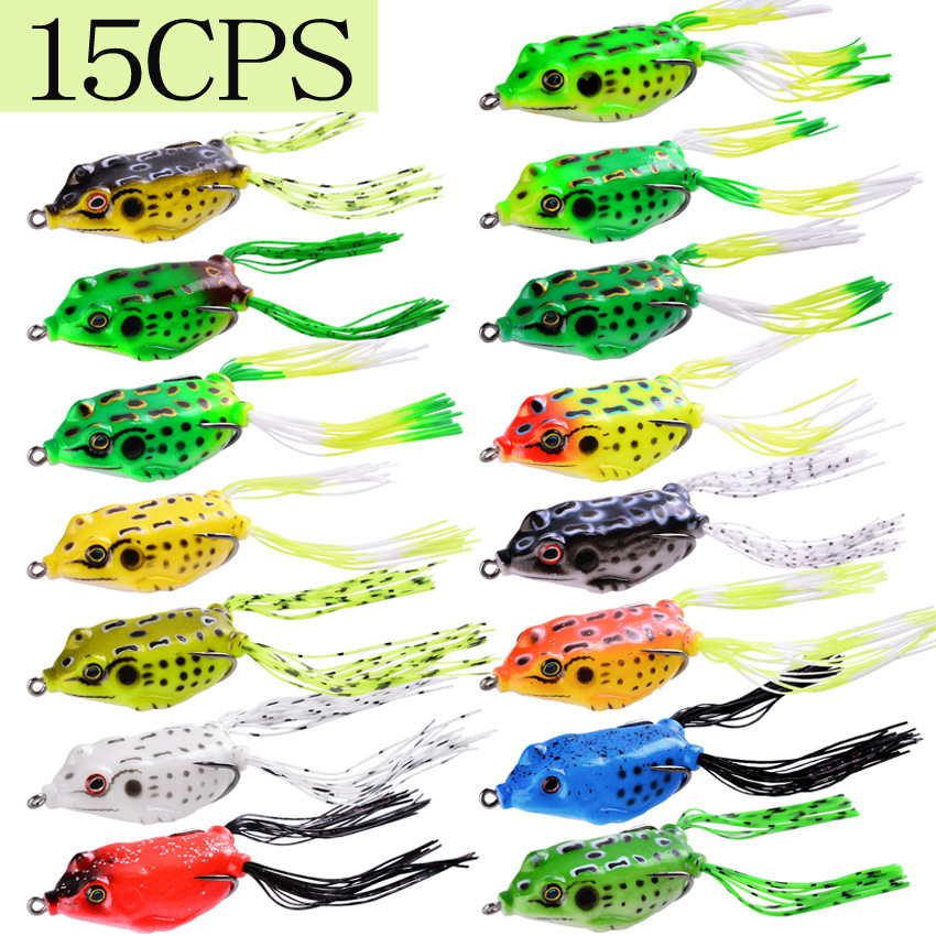 15pcs/lot Frog Soft Fishing Lures Double Hooks 6g 13g 15g Top water Ray Frog Artificial Minnow Crank Soft Bait fishing tackle|Fishing Lures| - AliExpress
