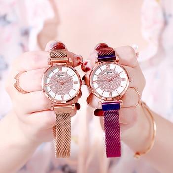 цена Women Watch Magnetic Starry Sky Ladies Watch Top Brand Luxury Watch Rose Gold Relogio Feminino Female Clock Reloj Mujer онлайн в 2017 году