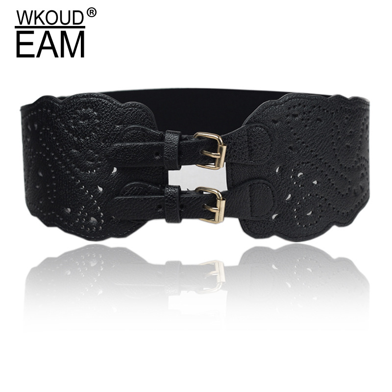 WKOUD EAM 2020 New Metal Buckle Leather Belt Women Vintage Hollow Out Elastic Wide Waistband Female High Quality Belt PE183