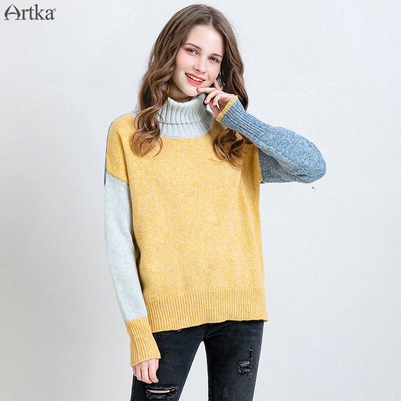 Женский шерстяной свитер ARTKA, Повседневный свитер с воротником под горло, YB10690Q, Осень-зима 2019