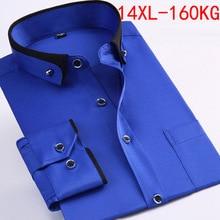 Spring Men wedding shirt Formal long sleeve plus size big 2XL 3XL dress shirts Pink formal navy blue 9XL 10XL 14XL Blouse purple